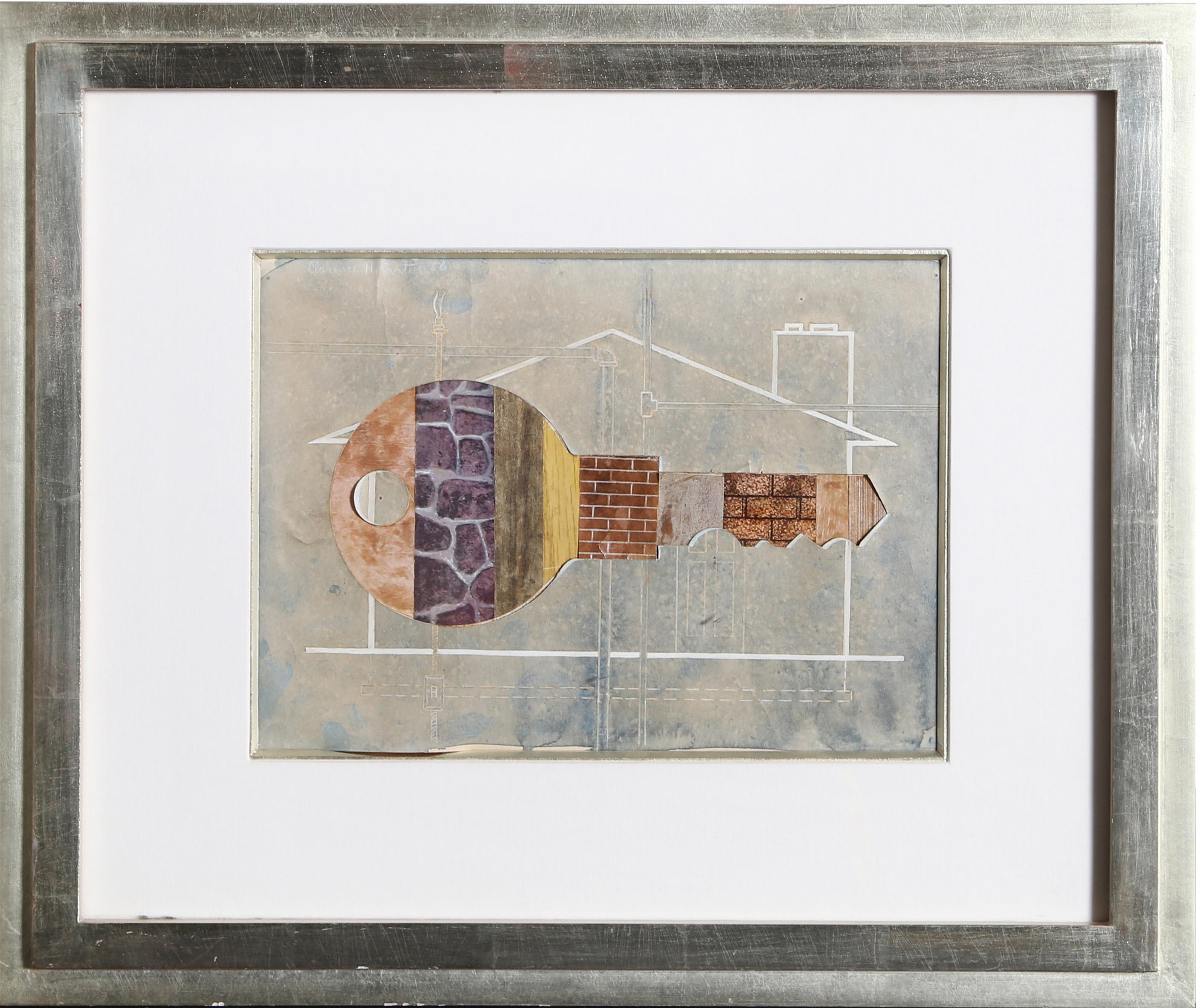 Clarence Holbrook Carter, House Key, Watercolor Painting with Collage
