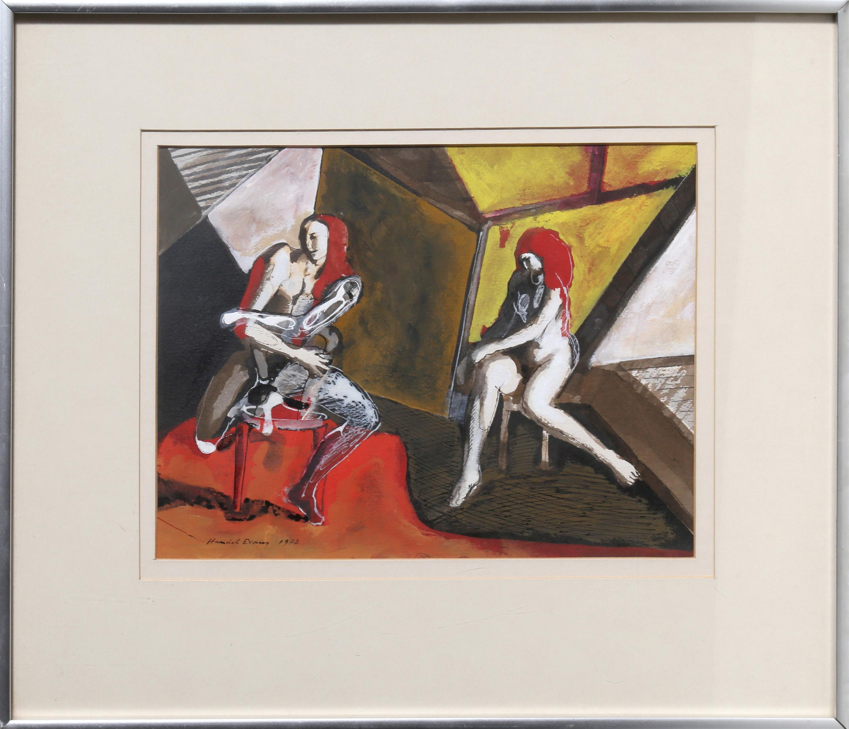 Handel Evans, Two Seated Nudes, Gouche Painting on paper