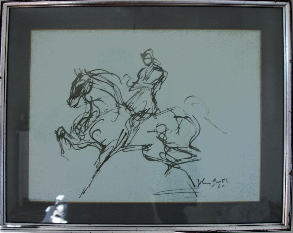 John August Groth, Soldier on Horse, Ink Drawing on paper