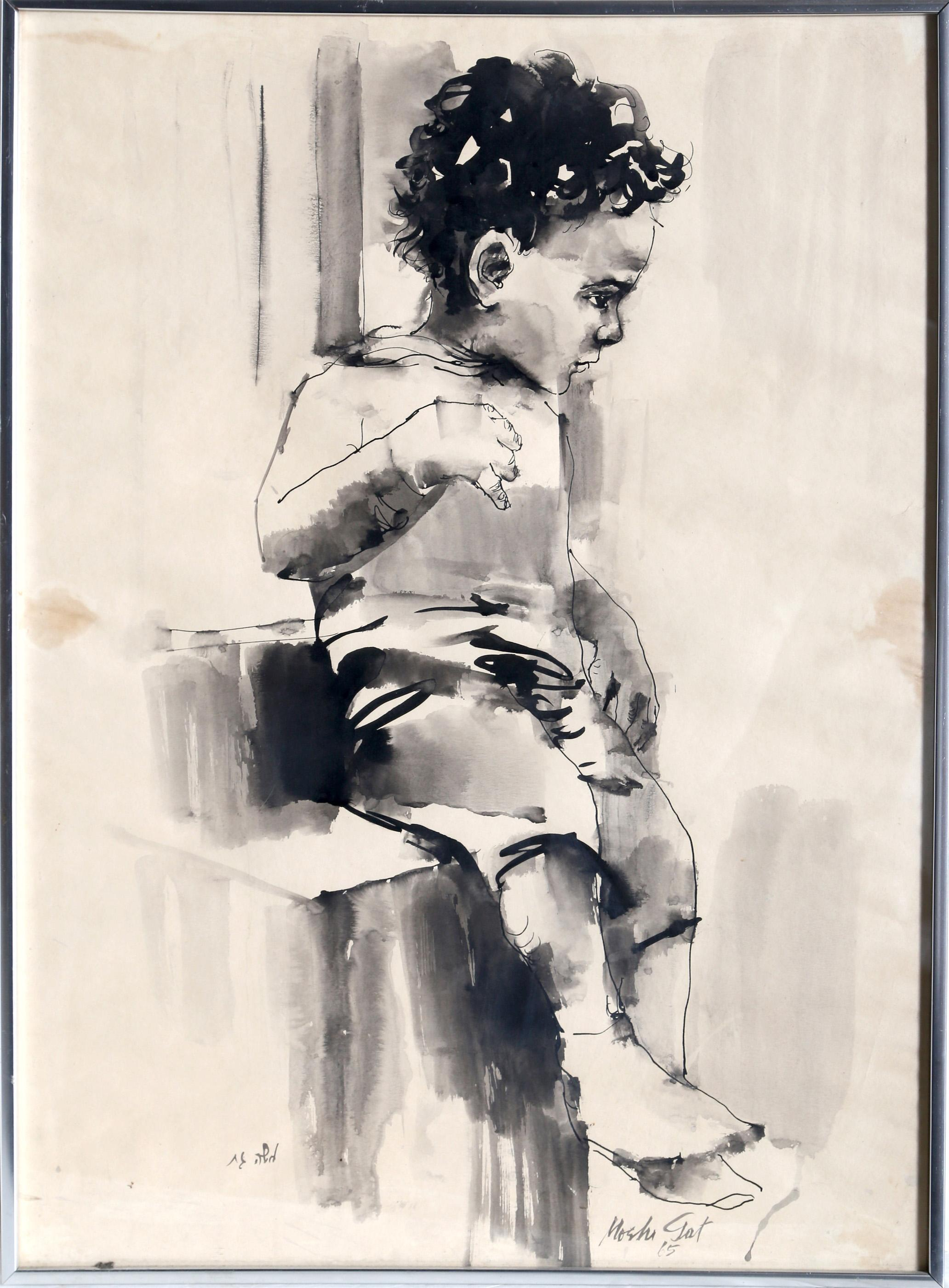 Moshe Gat, Seated Child, Watercolor Drawing