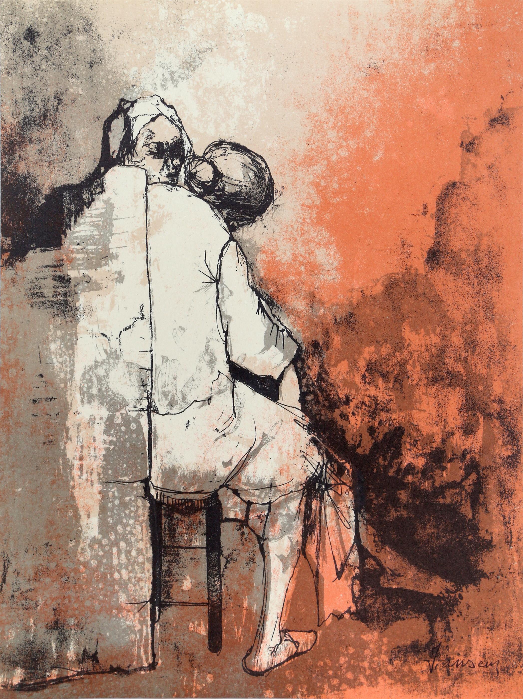 Jean Jansem, Two Women Seated, Lithograph