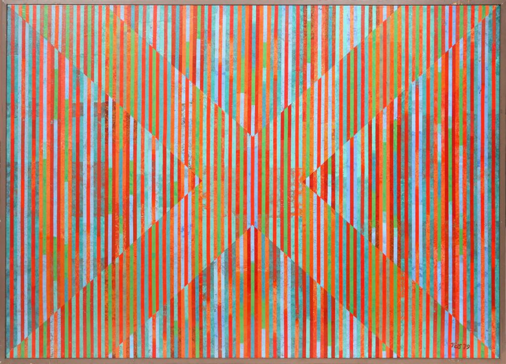 Dan Teis, Candy Stripes X, Acrylic Painting