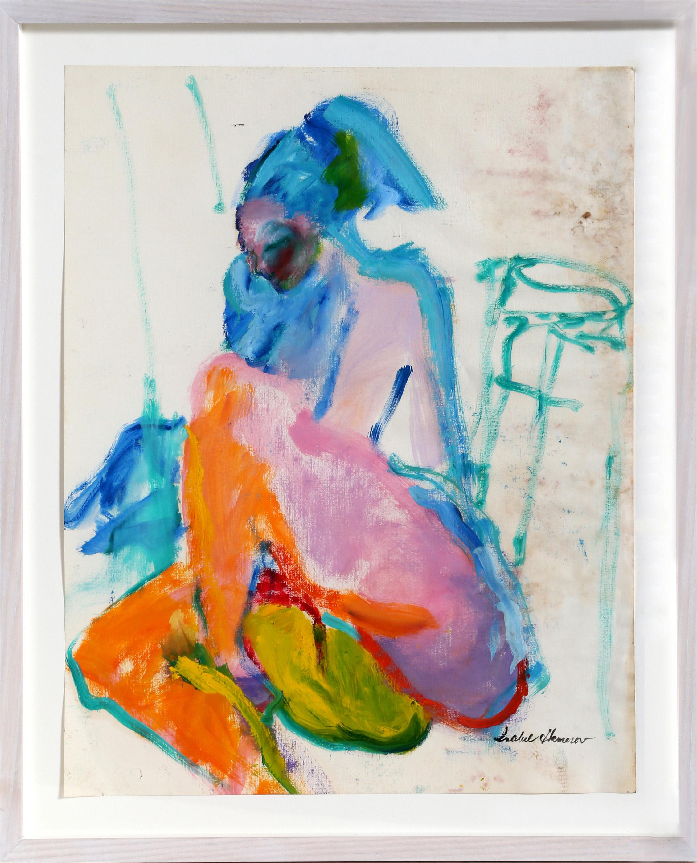 Isabel Gamerov, Untitled - Seated Nude, Gouache Drawing