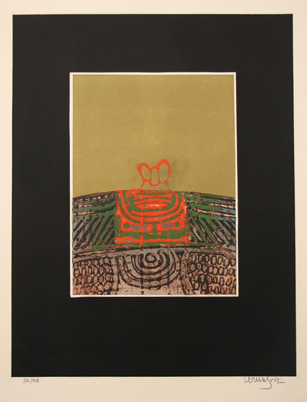 Arun Bose, Untitled - Orange Abstract, Etching with Aquatint