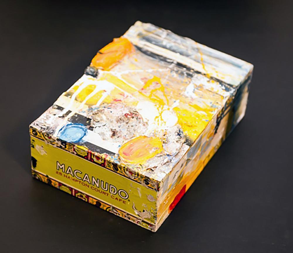 Robert Baribeau, Orange Abstract, Oil and Mixed Media Painting on Cigar Box