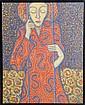 Boris Sveshnikov, Untitled (Woman holding bars), Oil Painting