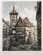 Paul Sollmann, Rottenburg ob der Tauber, Hand-Colored Etching