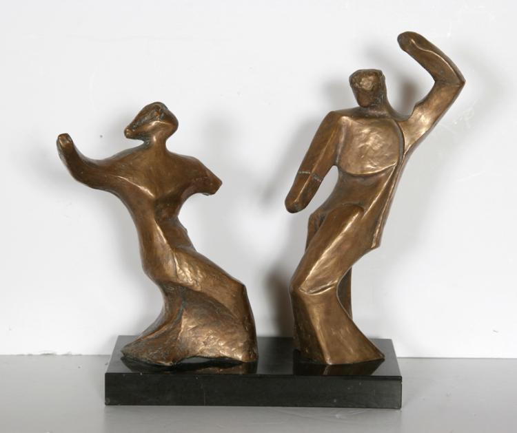Pearl Amsel, Dancing Couple, Bronze Sculpture