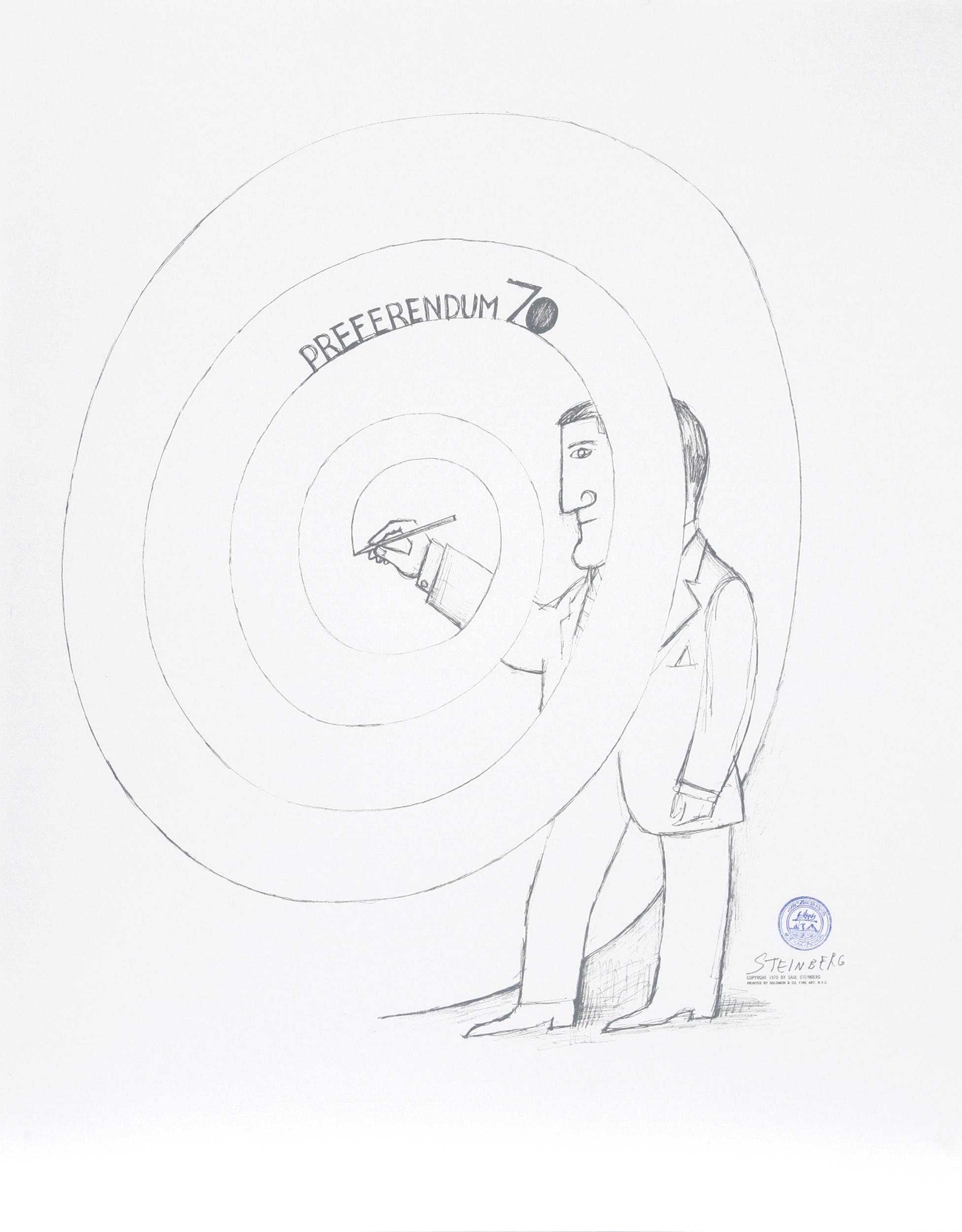 Saul Steinberg, Preferendum 70, Lithograph, ink stamped