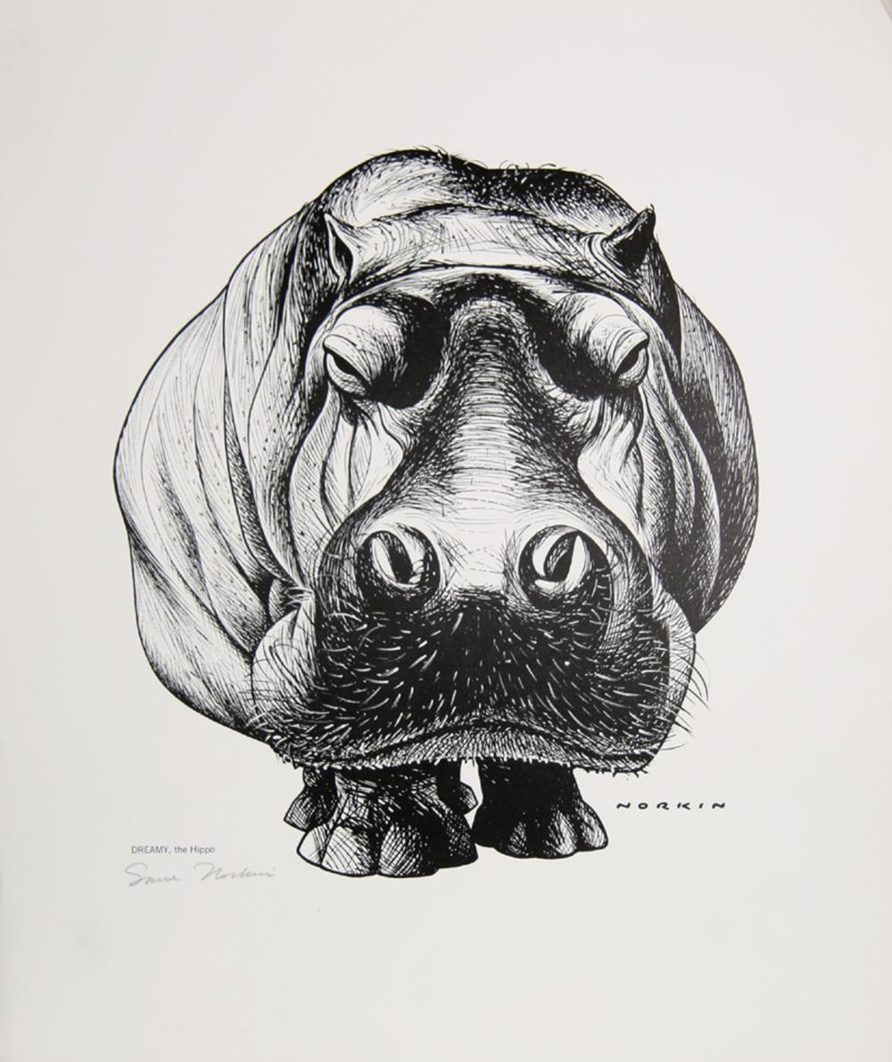 Sam Norkin, Dreamy the Hippo, Poster, Signed in marker