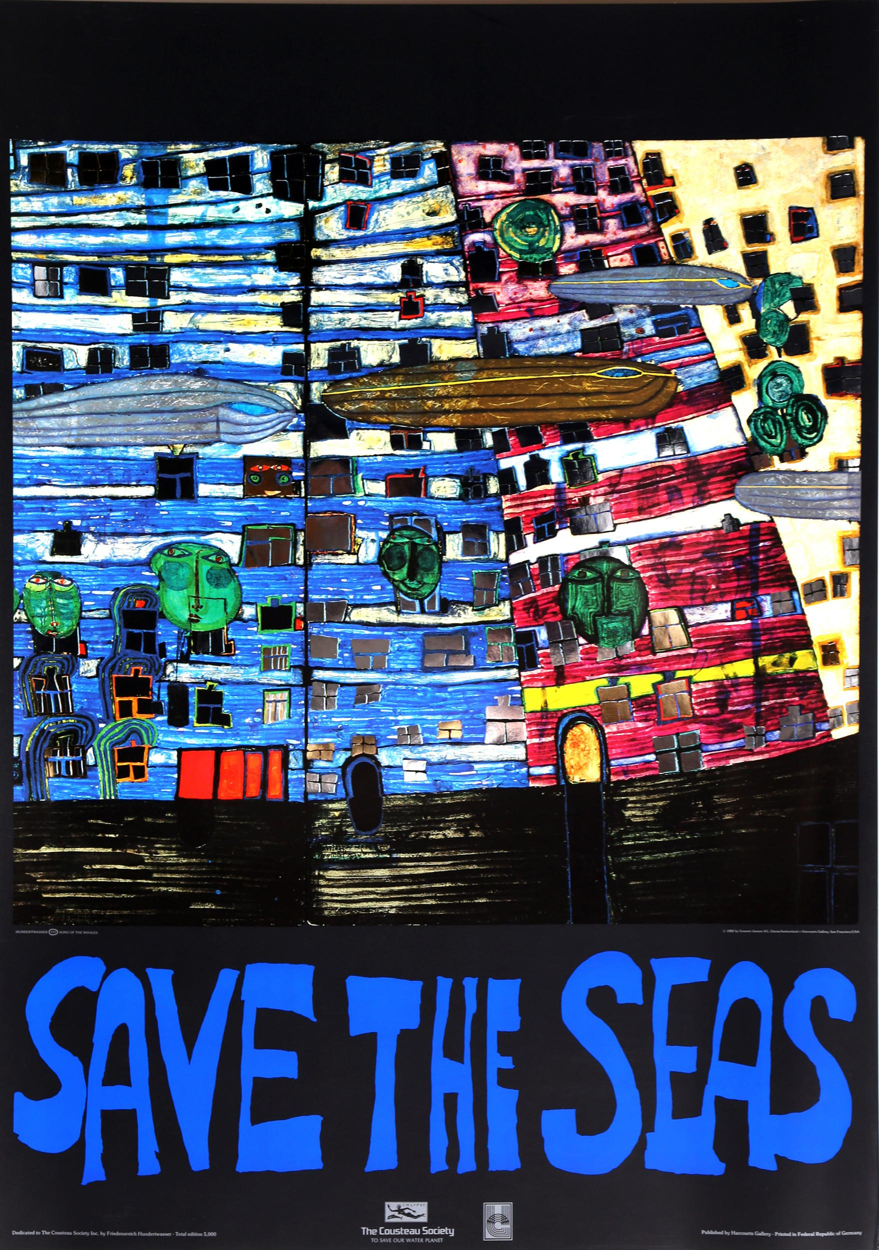 Friedensreich Hundertwasser, Save the Seas, Offset Print with Foil Embossing