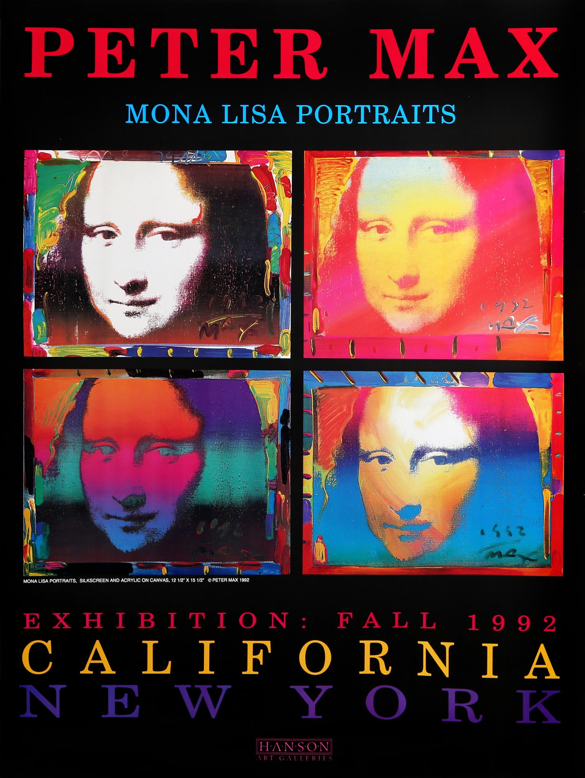 Peter Max, Mona Lisa Portraits, Poster