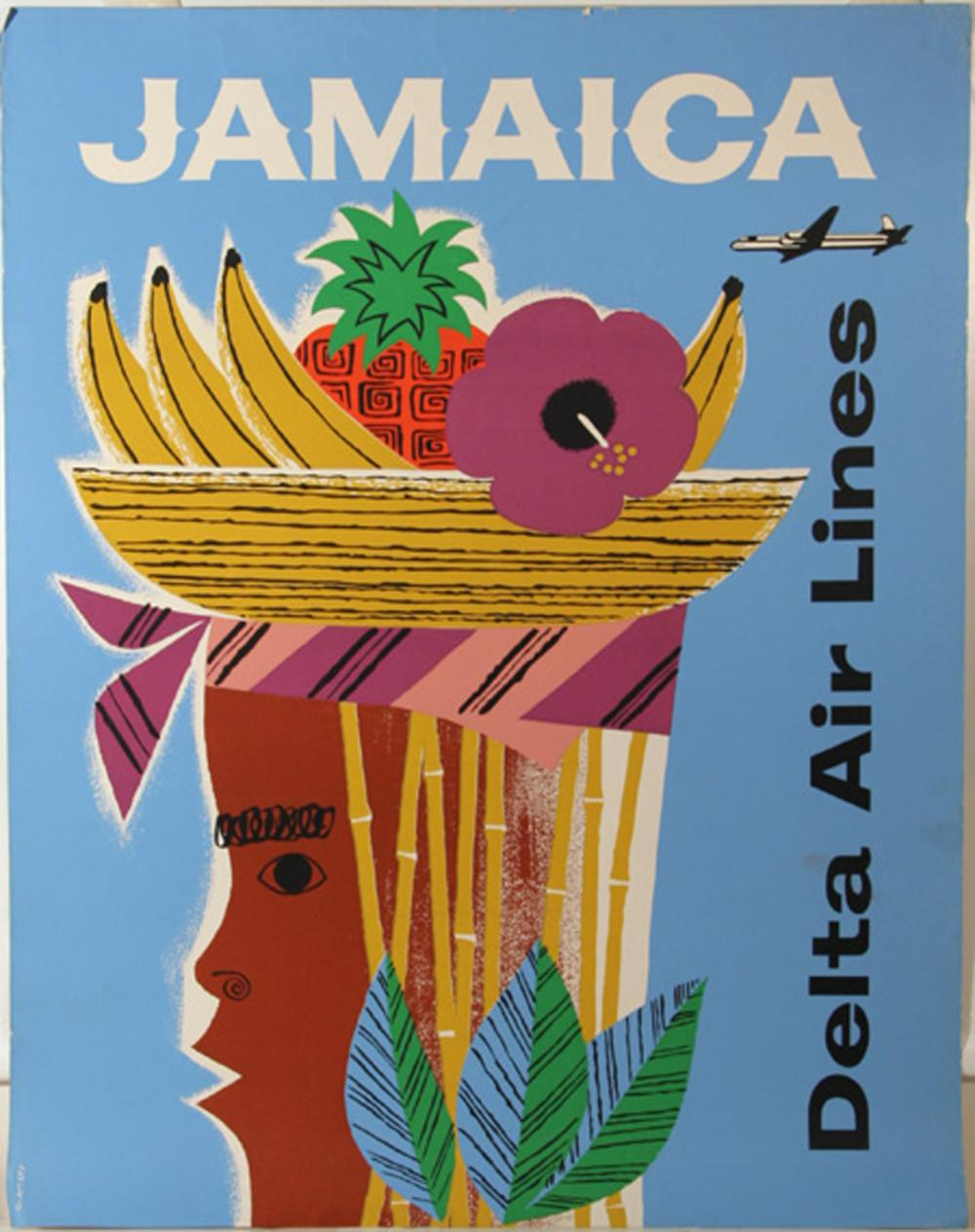 Slattery, Delta Air Lines: Jamaica, Lithograph Poster