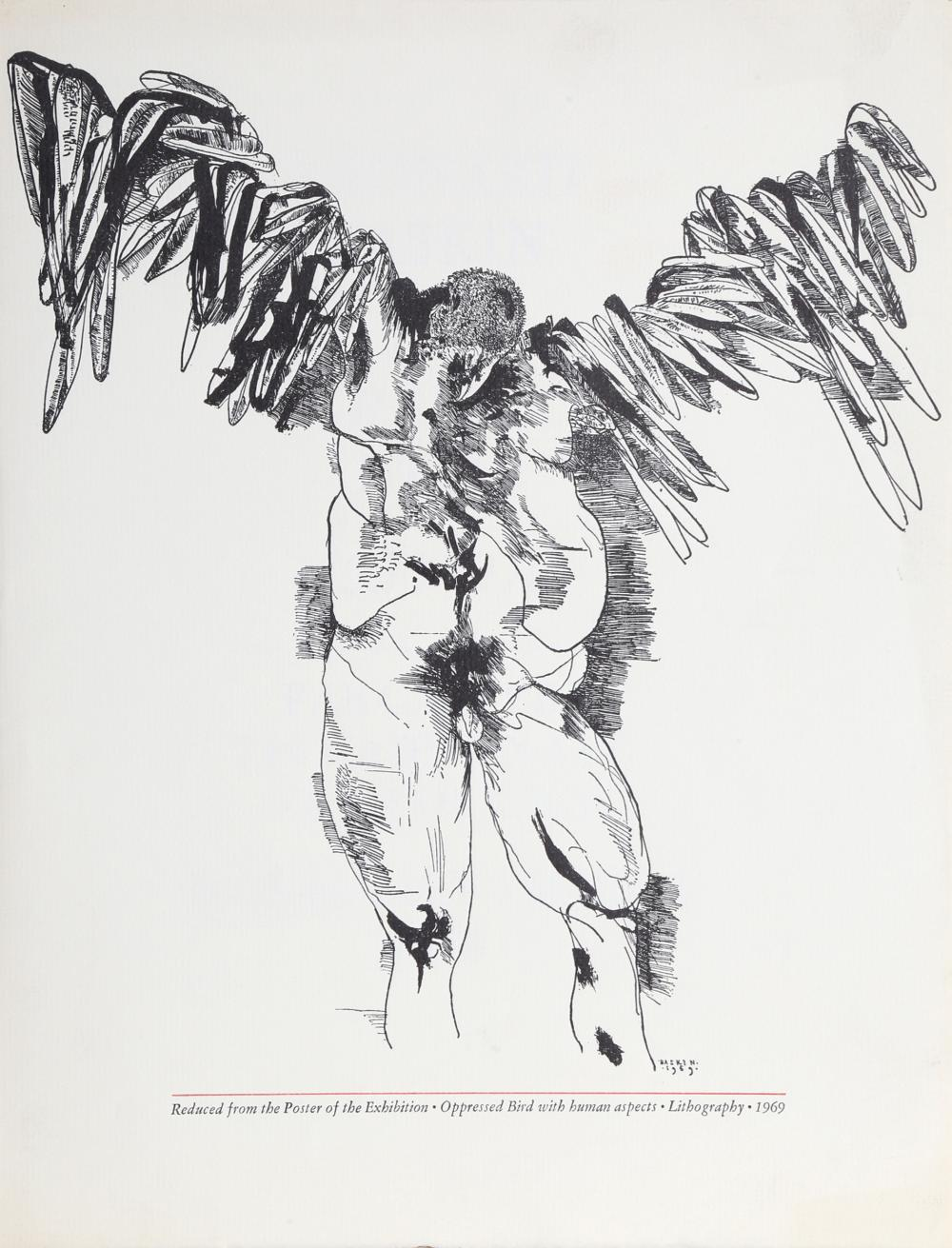 Leonard Baskin, The Graphic Works Exhibition (Icarus), Offset Lithograph