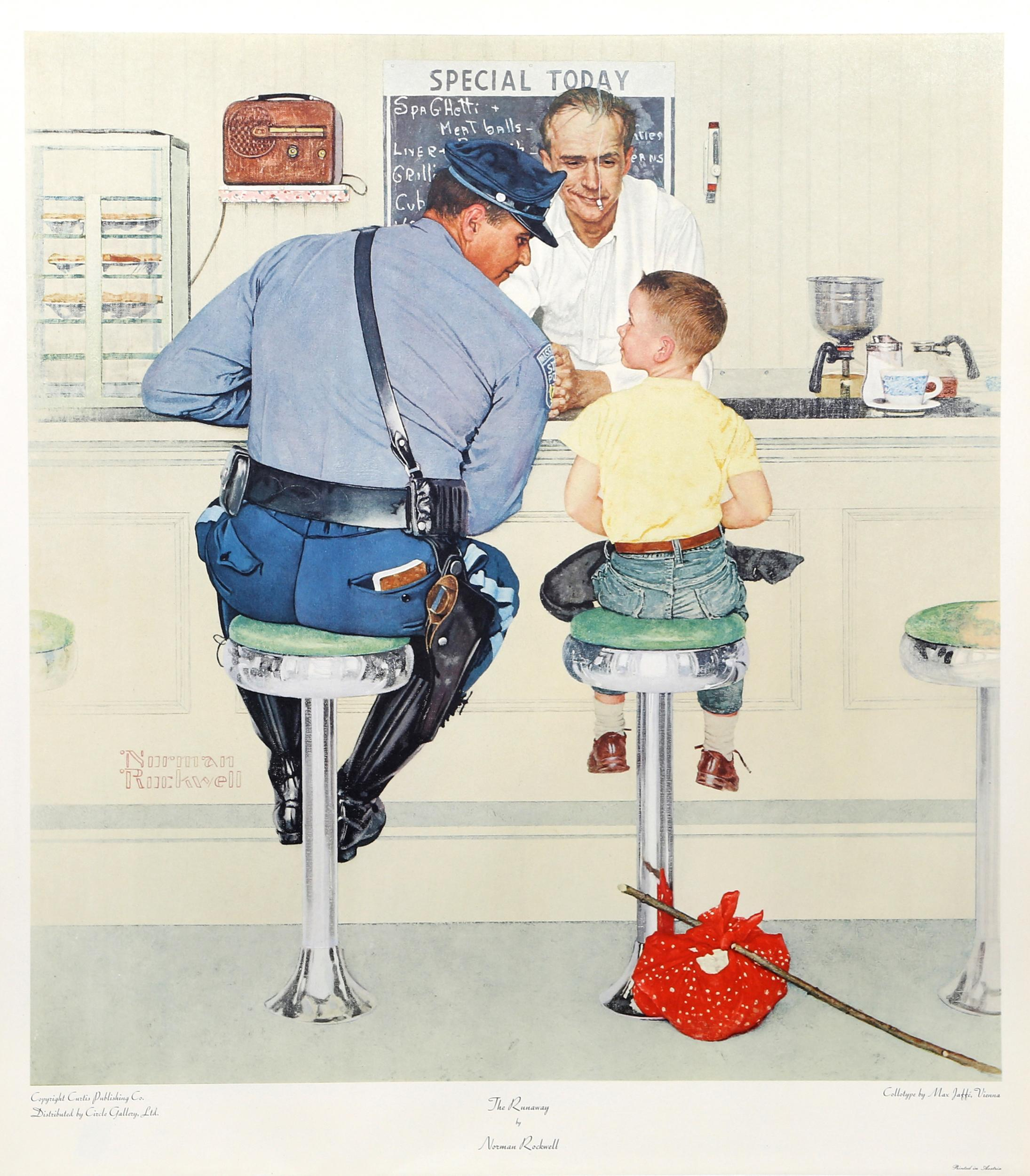 Norman Rockwell, The Runaway, Vintage Collotype Poster