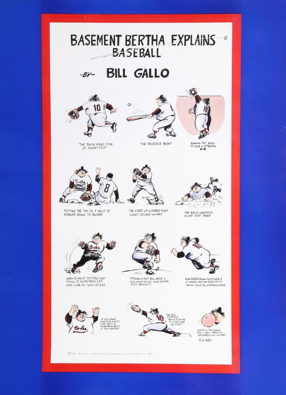 Bill Gallo, Basement Bertha Explains Baseball, Poster