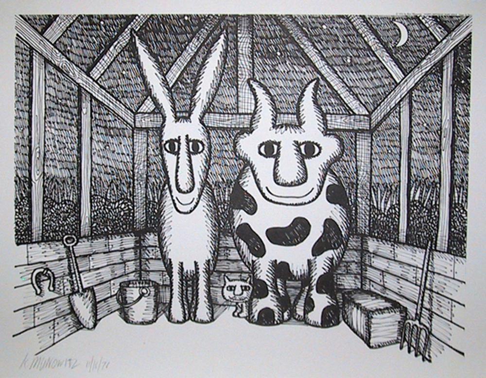 Ken Munowitz, Animals in Barn at Night, Poster
