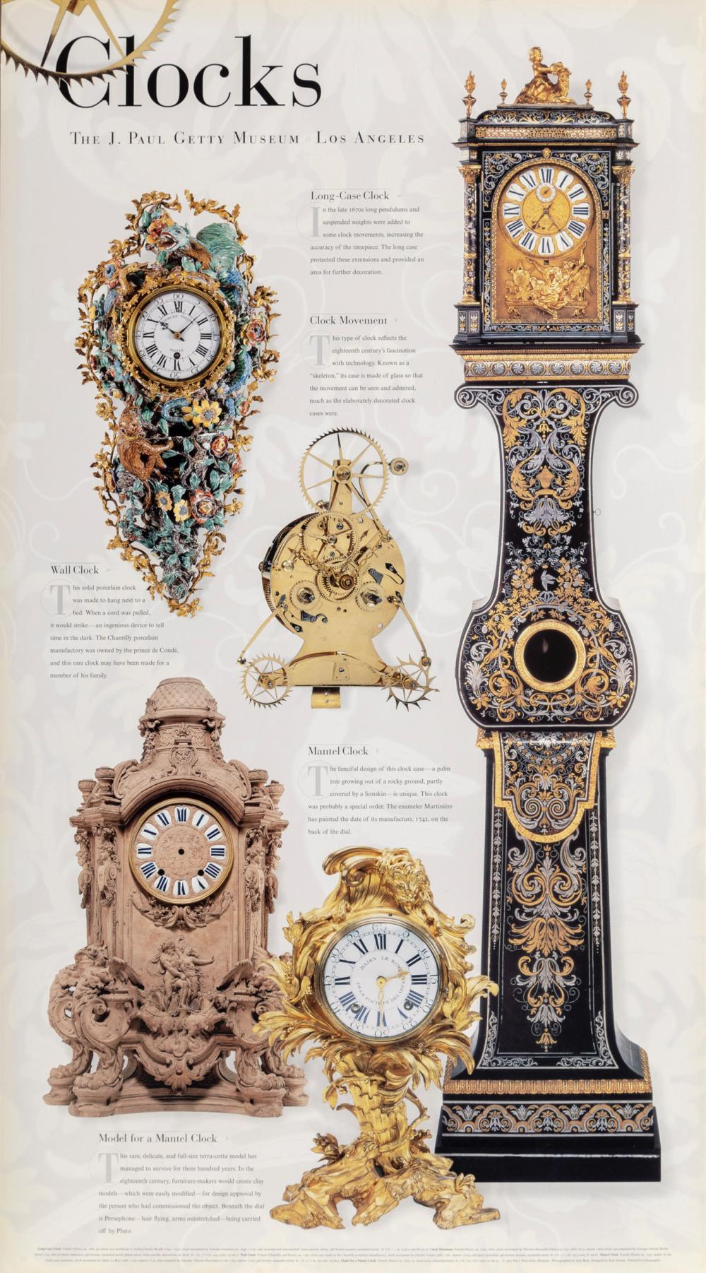 Clocks at the Getty, Poster on foamcore