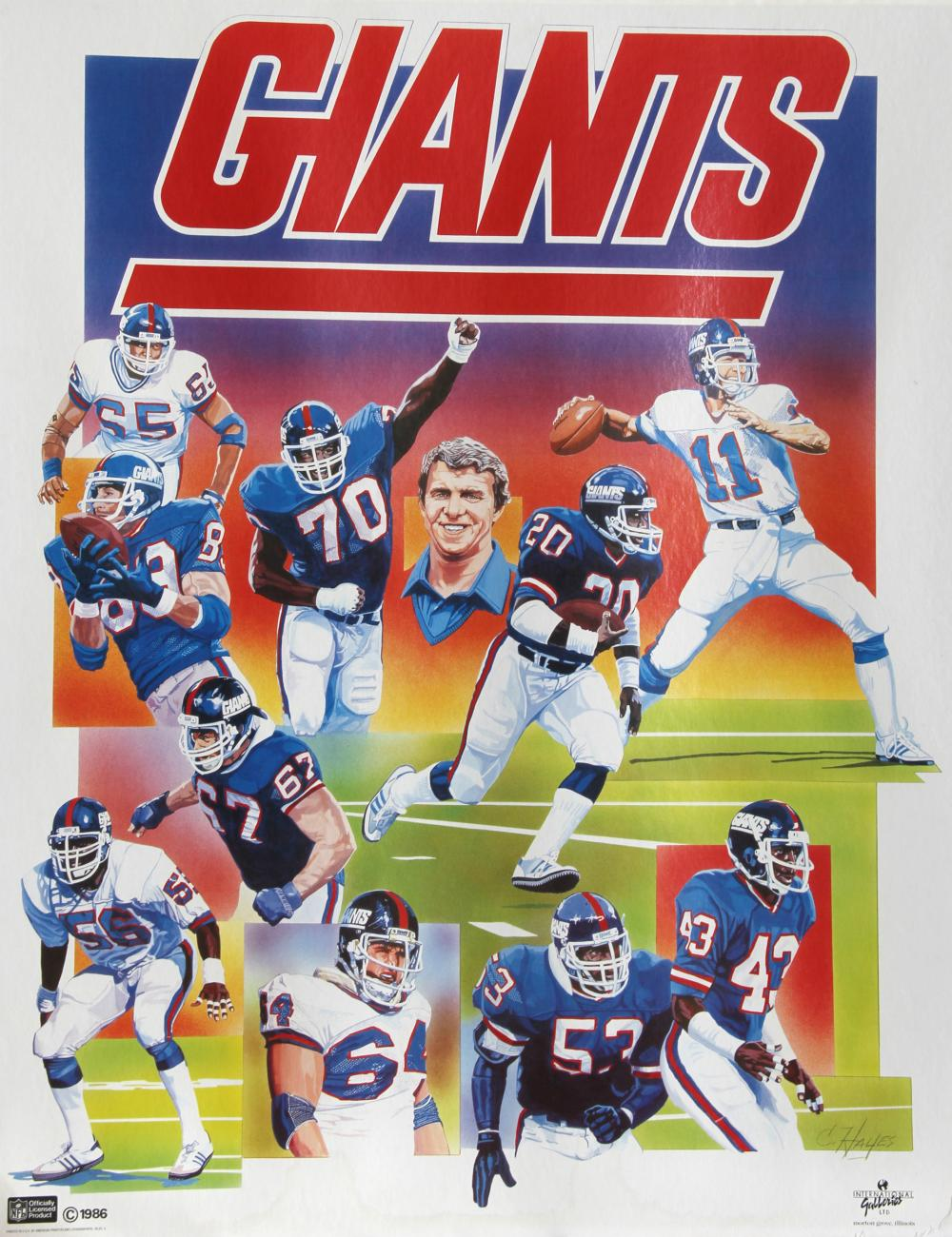 New York Giants NFL, Poster, autographed by C. Hayes