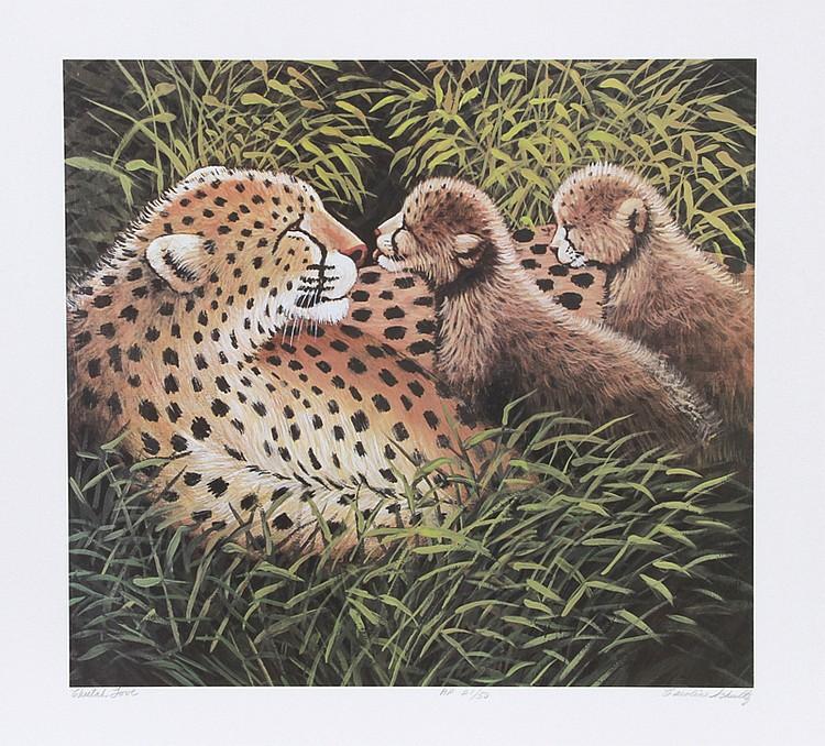 Caroline Schultz, Cheetah Love, Lithograph