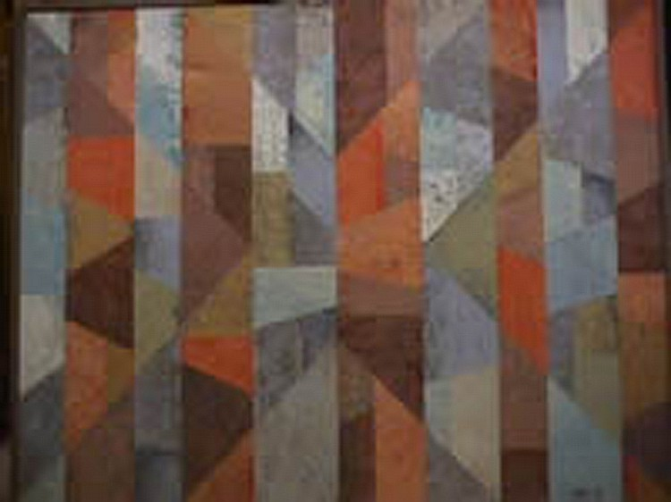Dan Teis, Geometric Acrylic and Collage Painting