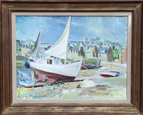 Trafford Partridge Klots, Boats on the shore in Brittany, Oil Painting