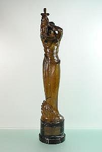 ANTEUNIS - Bronze à patine verte signé Jan