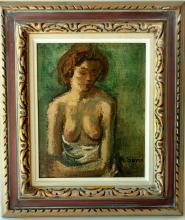Moses Soyer Seated Female Nude Social Realist Portrait