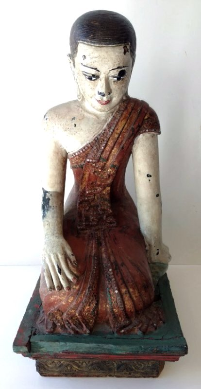 Large Heavy Antique Thai Southeast Asian Carved Buddha
