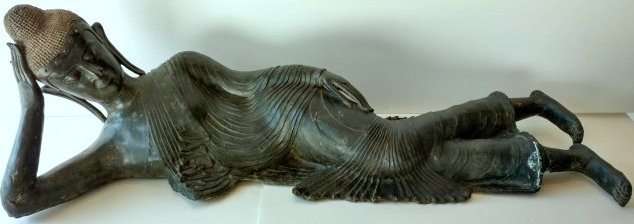 Large Over 3Ft Long Thai Bronze Reclining Buddha Statue