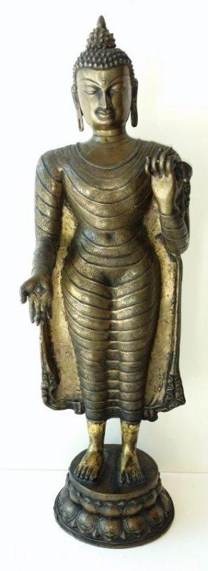 Large 22 Inch Antique 18C Thai Bronze Buddha
