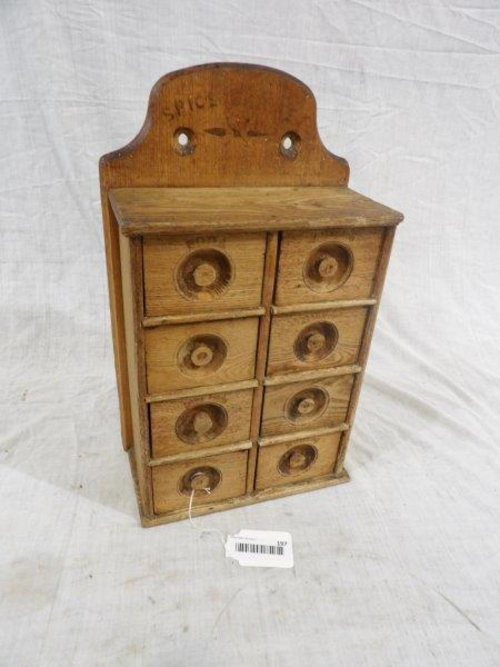Early American 8 drawer hanging spice cabinet