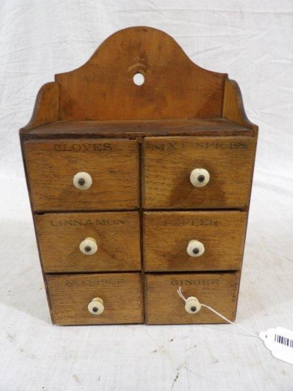 Early American 6 drawer hanging spice cabinet