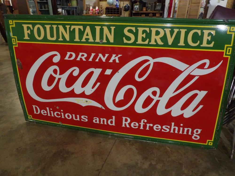 Lg. Incredible SSP 1933 Fountain Service Coca-Cola sign