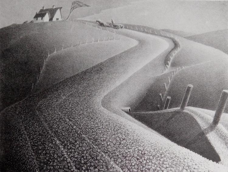 Grant Wood lithograph
