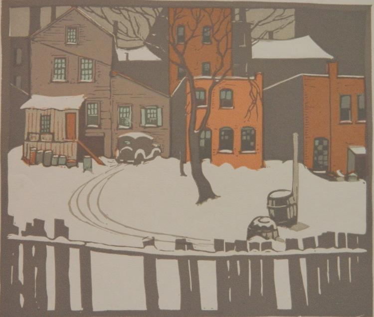 George Adomeit linocut in colors