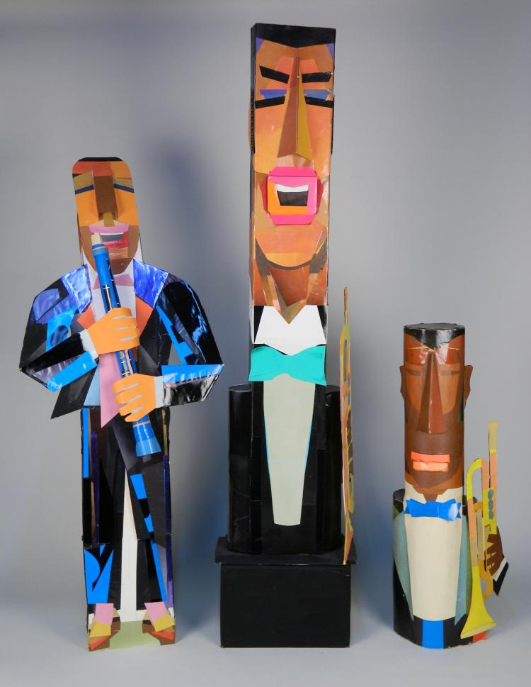 Stephen Longstreet 3 mixed media sculptures