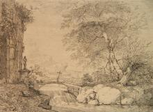 Manner of Gaspard Poussin Dughet drawing