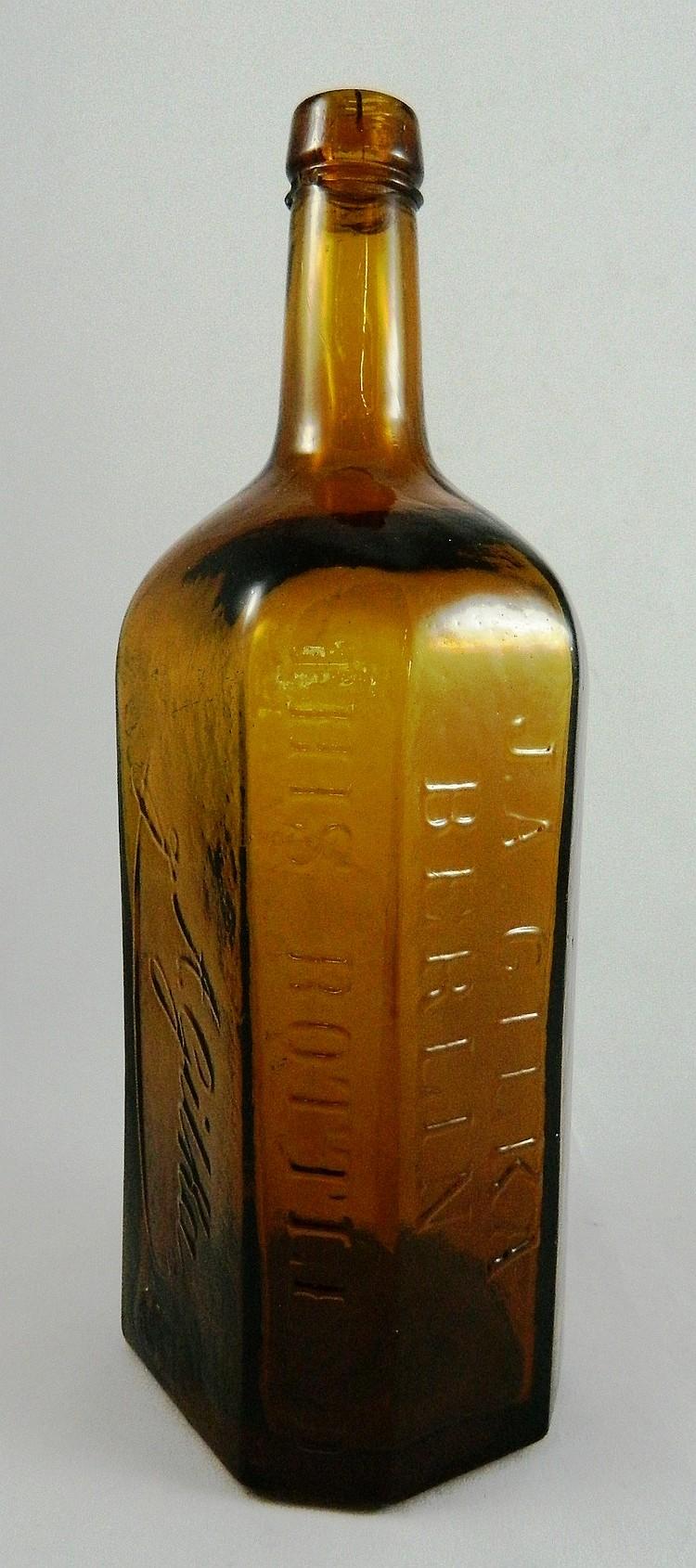Liquor 2 hexagonal bottles j a gika for Liquor bottle art