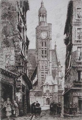 Charles Pinet- ''Rue de la Montagne''- etching, c.