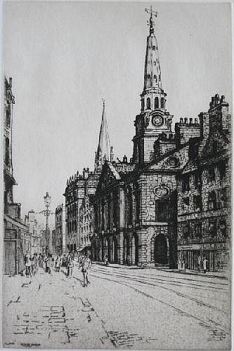 Taylor Brown- Street Scene- etching, signed in