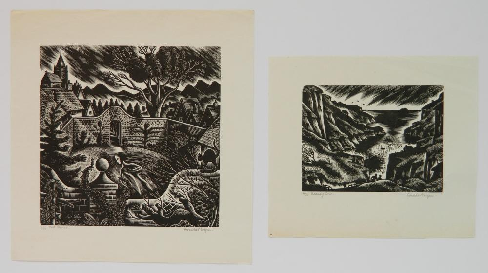 1950 GWENDA MORGAN Wood Engraving /'Country Scene/' Image Size c.5x3ins.. Printed on Basingwerk Parchment
