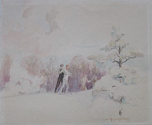 Carl Nordstrom- Skiers- watercolor on paper,