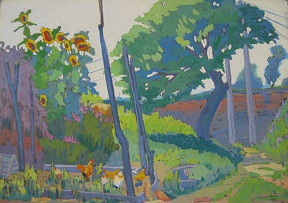 Clara L. Deike (American 1881-1964)- ''Sunflowers