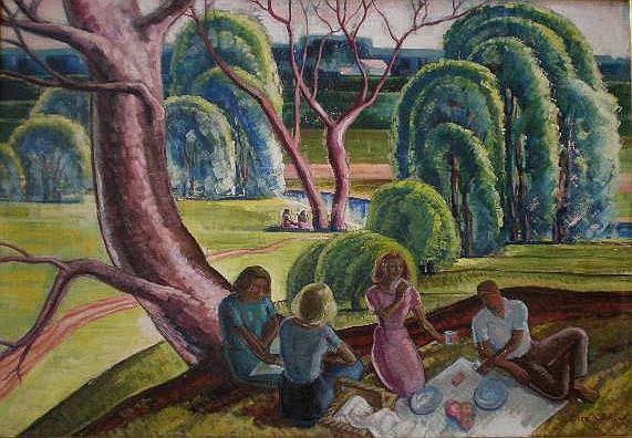 Elsa V. Shaw (American 1891-1974)- ''The Picnic''-