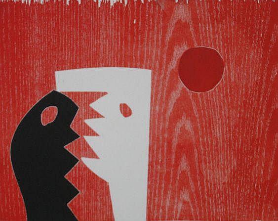 Charles Hewitt- Untitled- woodblock monoprint,
