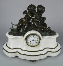 Leroy et Fils bronze and marble clock