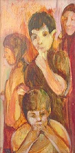 Carol Wald (American 1935-2001) Four Figures oil