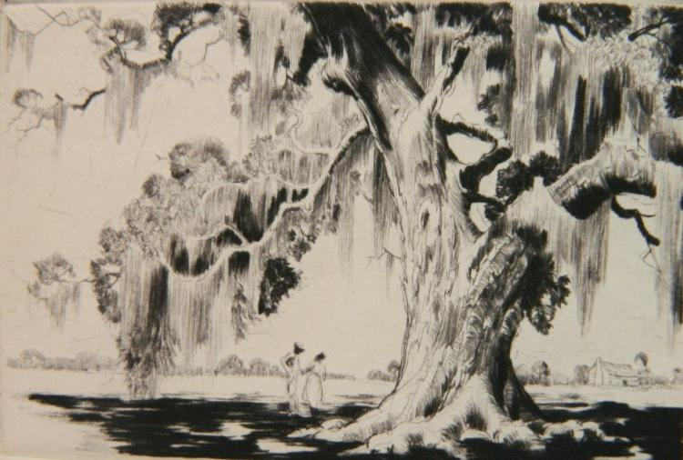 Alfred Hutty etching and drypoint