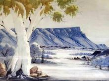 CLAUDE PANNKA (1928-72), Central Australian Landscape, watercolour and pencil on paper, 49 x 70 cm, signed lower right